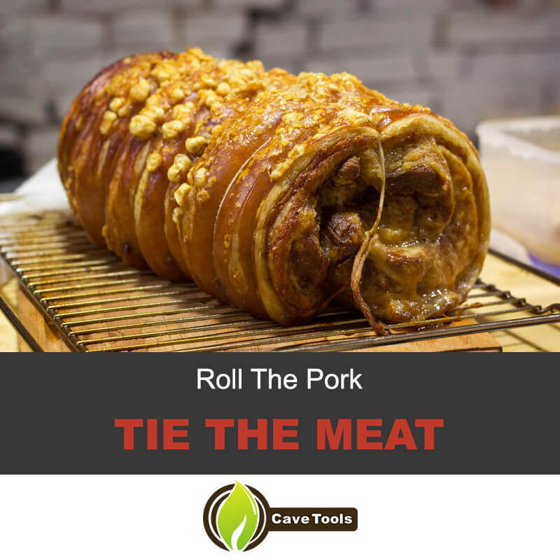 Roll the pork and tie the meat