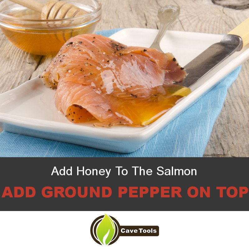 Add Honey To The Salmon Add Ground Pepper On Top