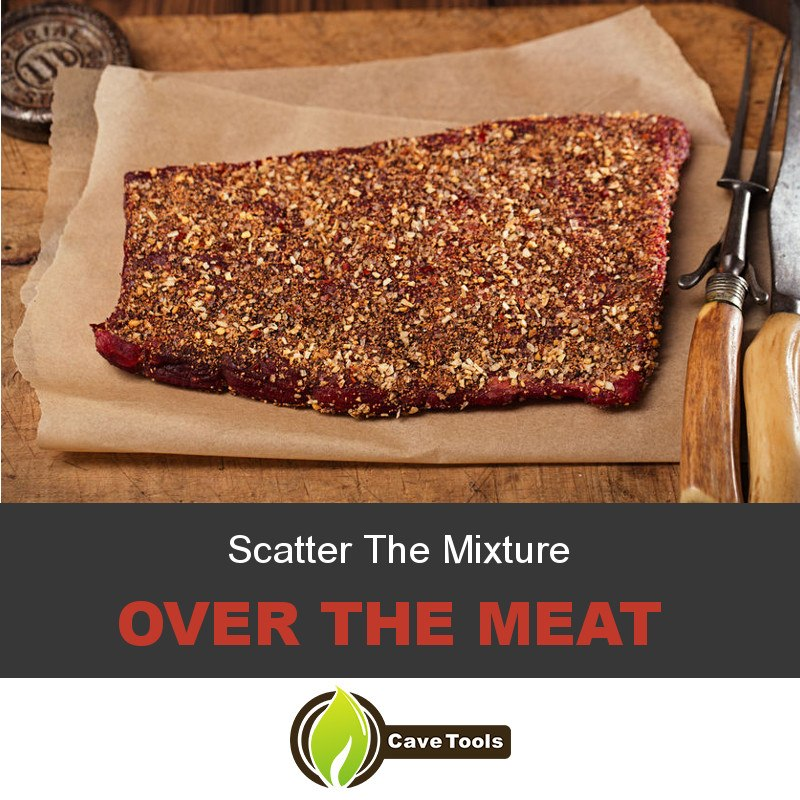 Scatter The Mixture Over The Meat