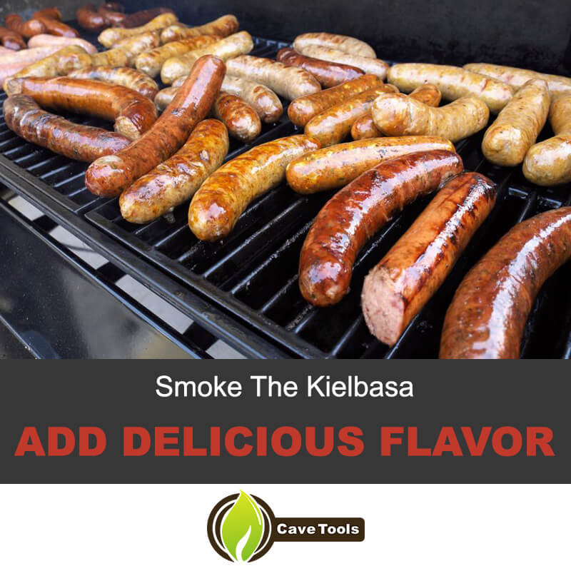 Smoke the kielbasa and add delicious flavor