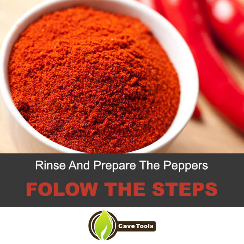 Rinse and prepare the peppers