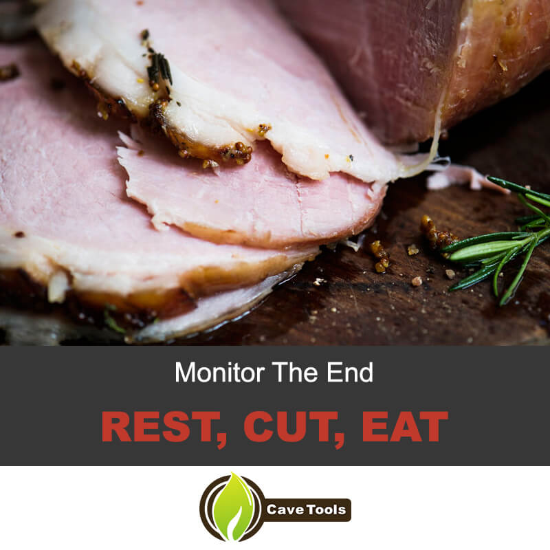Rest, cut, eat the smoked ham