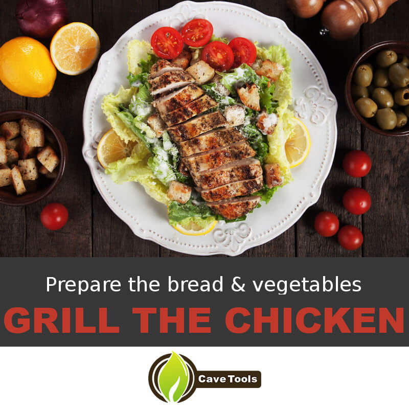 Prepare the bread & vegetables Grill The Chicken