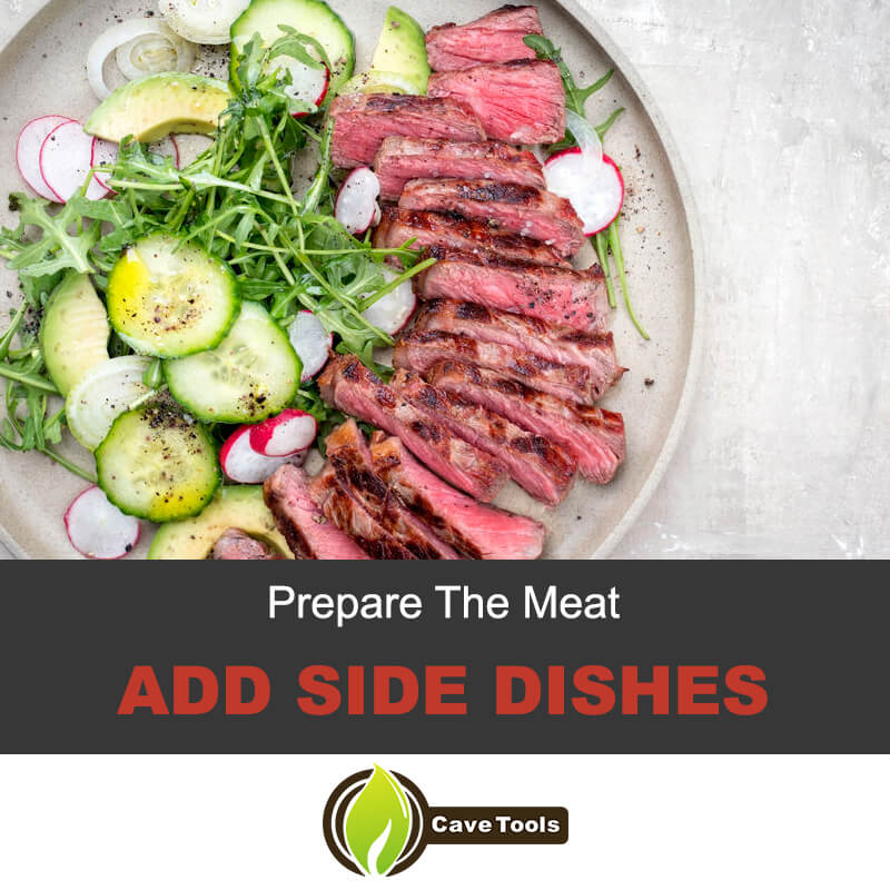 Grilled London broil with side dishes